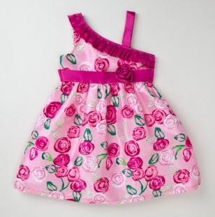 Infant Girls Floral Dress with Bow in Back