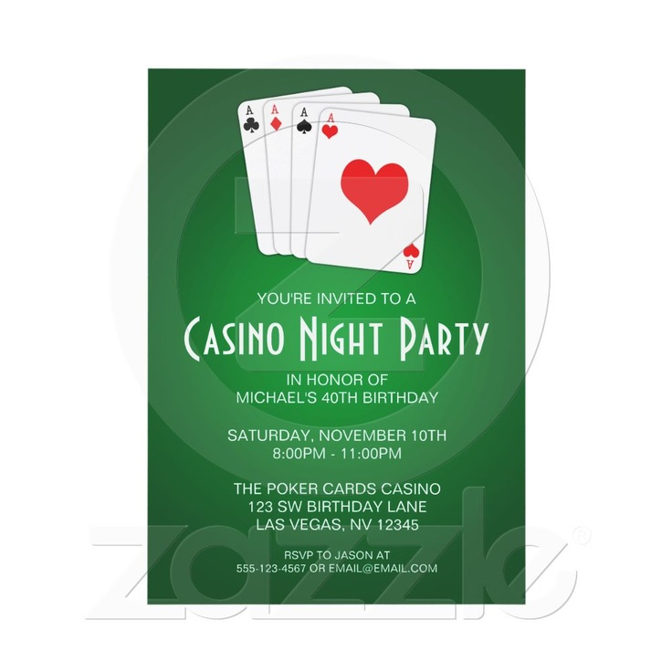 gala casino night invitation cards
