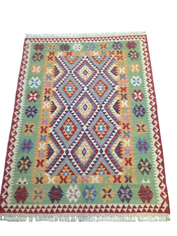 #oriental #kilim #rug with purple and green