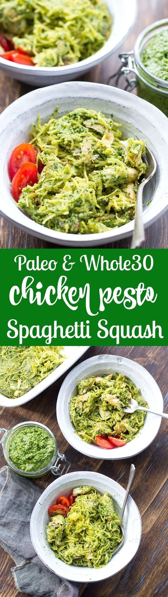 Perfectly cooked spaghetti squash is tossed with a flavor-packed Paleo & Whole30 pesto and seasoned chicken for a healthy filling meal even squash haters will love! This Paleo spaghetti squash dinner makes great leftovers too! Whole30, dairy free and low carb. https://www.pinterest.com/pin/53691420541576003/