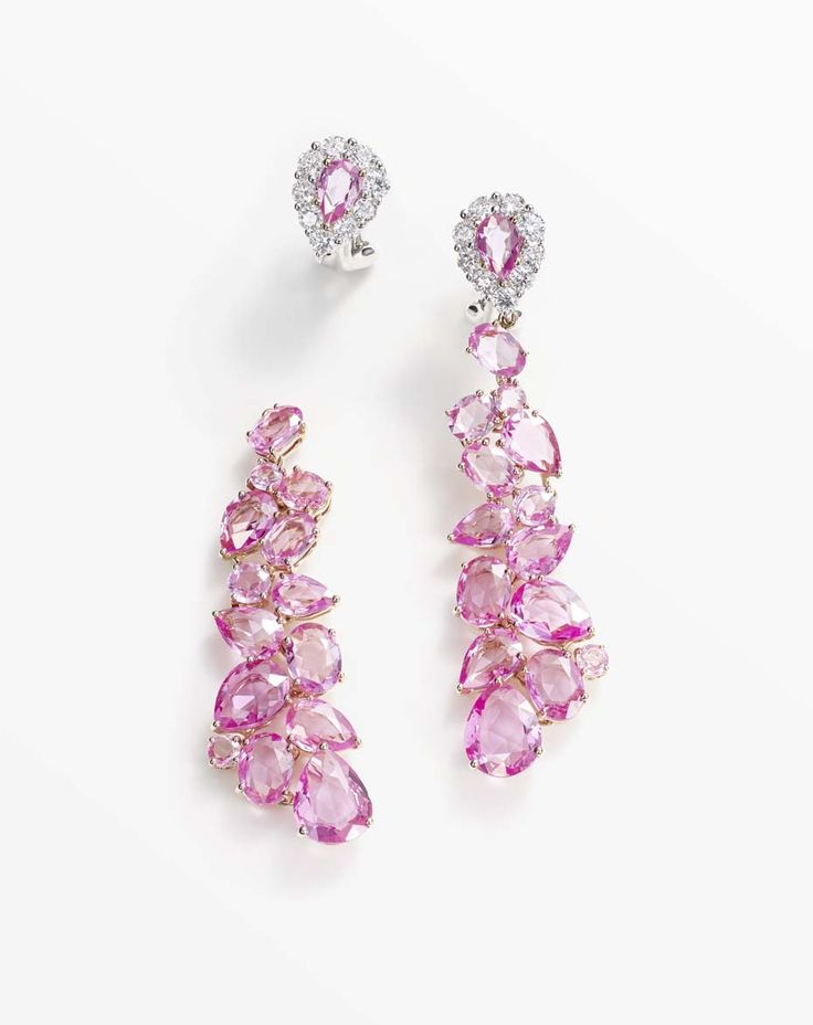 Cascading pink sapphire earrings with diamonds in white and rose gold, with detachable drops, from William & Sons new Beneath the Rose collection.