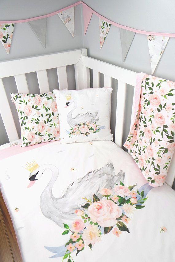 Swan Cot Quilt Swan Nursery Set Swan Crib Quilt Nursery