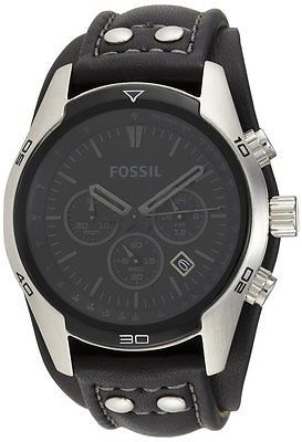 Fossil CH2586 Men's Cuff Chronograph Black Leather Watch - New in Box