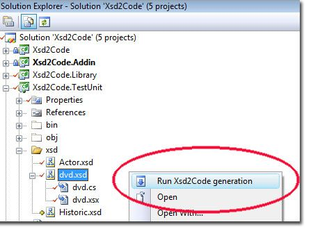 XML XSD Schema to Classes within the IDE
