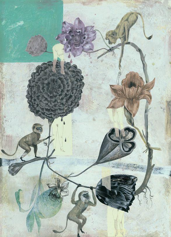 Olaf Hajek,  Hiddengirls,  2007,  acrylic on paper,  27.5 x 19.75 inches