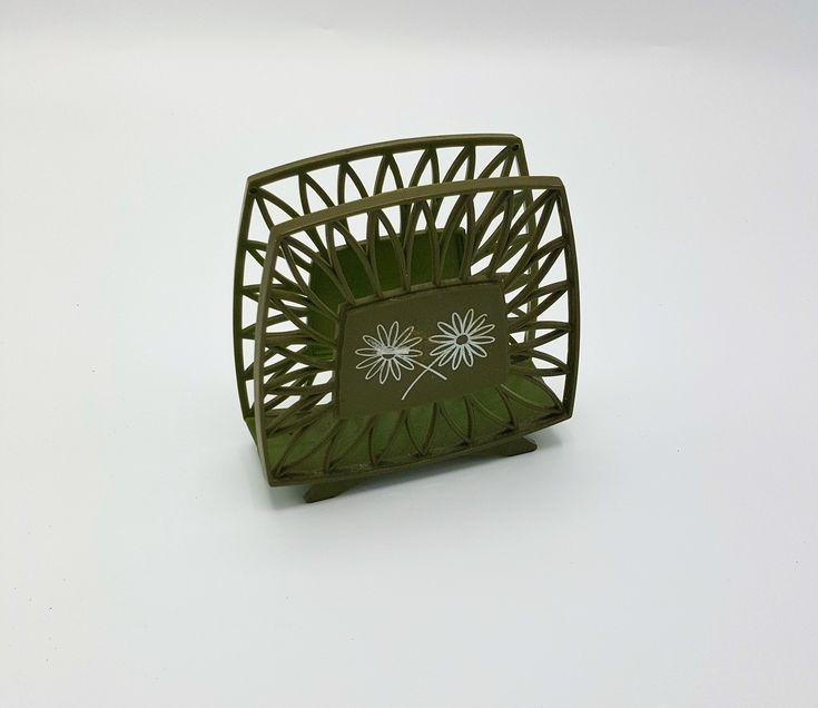 Vintage Napkin Holder, 1970's Green Plastic with white Flowers, 6″ X 7 1/2″,Retro green napkin holder, Farmhouse napkin holder