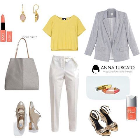 #Shining #look. #unlookalgiorno luminoso, originale ma adatto all'ufficio. Preferisci le scarpe stringate con inserti #argento o il sandalo #glitter e #oro? Dettagli e trucco corallo. #colors #yellow #giallo #silver #gold #white #outfit #outfitoftheday #lookfortheday #personalstyle #personalshopper #stylist #fashion #love #fashioncoach #stylecoach #lovely