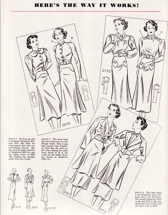 Vintage Sewing Book 1930s Simplicity Design Guide Style