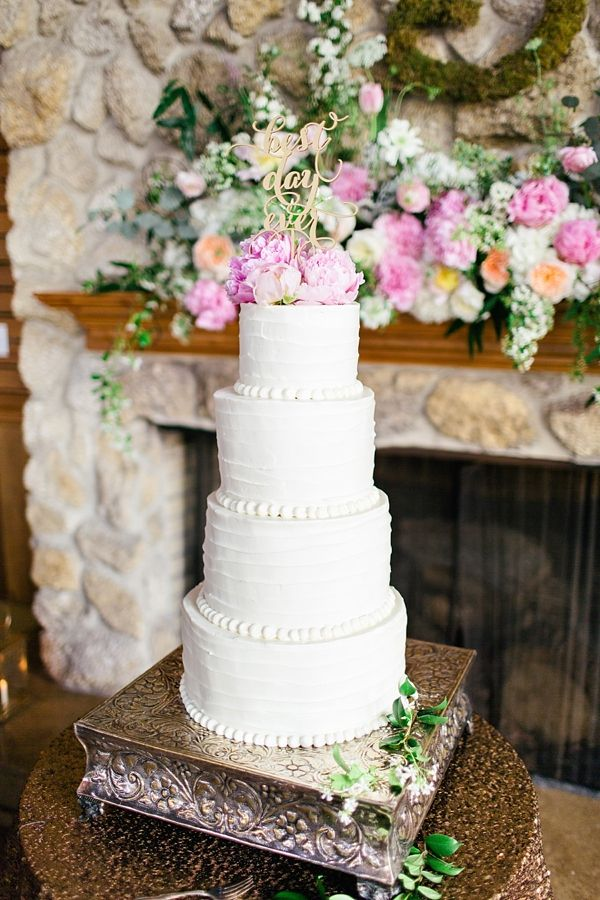 tall, simple white cake | Brooke Images #wedding