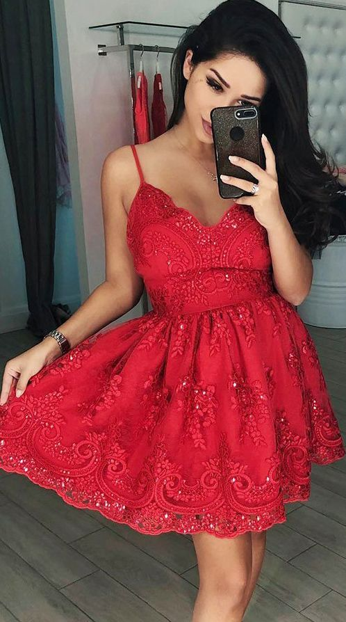 89412be95053 Spaghetti Strap Short Lace Homecoming Dresses Vintage Red Hoco Dress ...