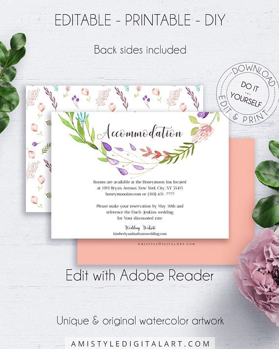 Floral Wreath Accommodation Card, with gorgeous and pleasing watercolor floral wreath design, in boho and vintage wedding style.This splendid wedding accommodation enclosure card template is an instant download EDITABLE PDF pack so you can download it right away, DIY edit and print it at home or at your local copy shop by Amistyle Digital Art on Etsy