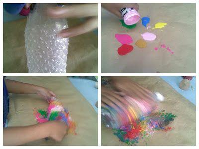 Utilizamos el plástico de burbujas para pintar. Mientras se  divierte pintando esta  actividad ayuda a fortalecer  los  hombros y  trabajamos el  sentido del tacto.