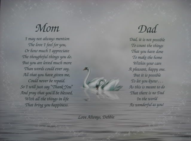 Mom & Dad Poems Personalized Print Anniversary, Christmas