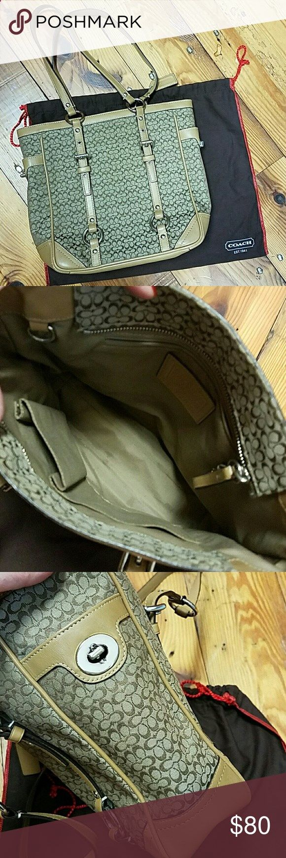 Coach purse Authentic Coach signature purse from Coach store in Annapolis. In like new condition. Tote style shoulder bag. Coach Bags Totes