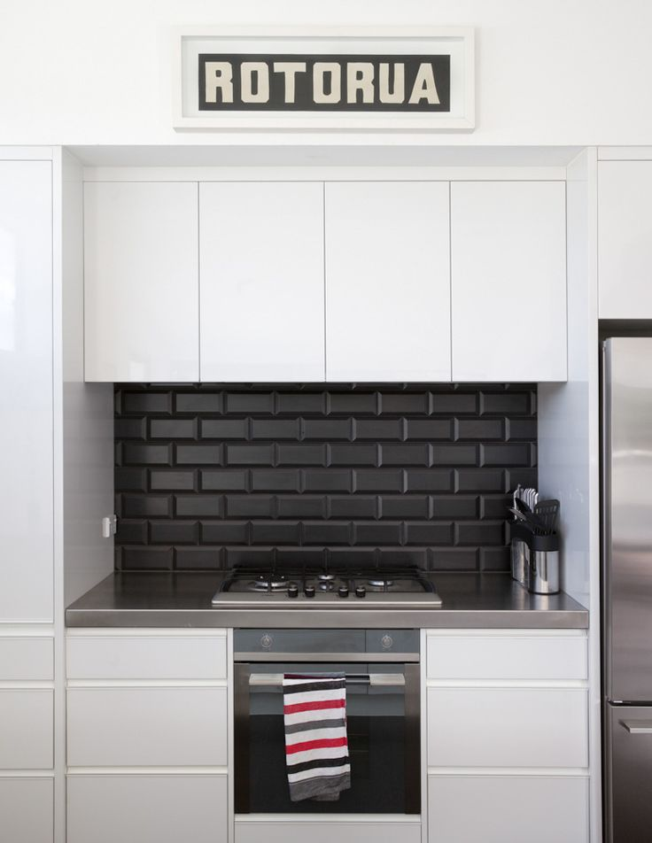 #kitchengoals Black And White. Black Subway Tile Backsplash With Black  Grout, Stainless Steel