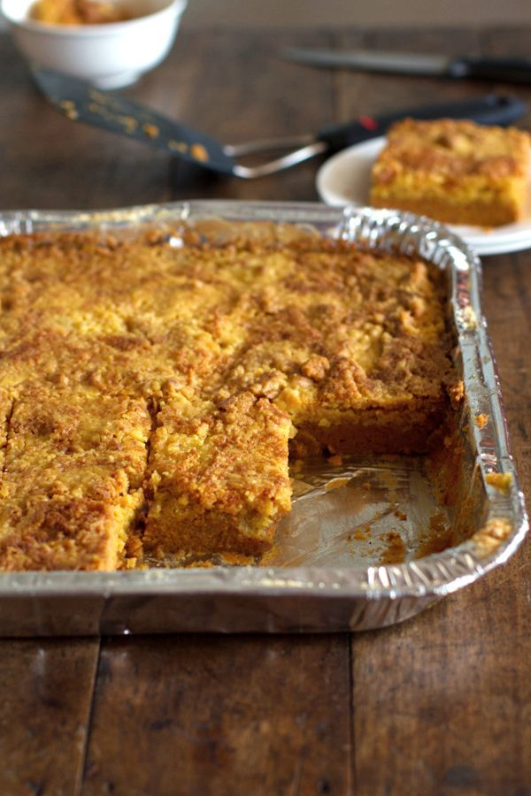 Pumpkin Dessert Bars (pumpkin crunch)  CAKE MIX  white and brown sugar, 4 eggs,  2 sticks butter