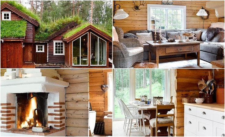Drewniany dom w stylu skandynawskim i wiejskim - wystrój wnętrz, wnętrza, zdjęcia