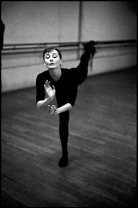 "FRANCE. 1956. Paris. Audrey HEPBURN during ballet rehearsal for the film ""Funny Face."""