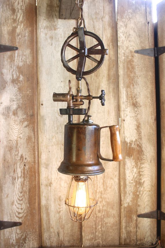 Vintage Industrial Style Hanging Lamp, Edison Bulb, Cage Light, Rustic Blow Torch Lamp, Eclectic Pendant Light, Steampunk Lighting