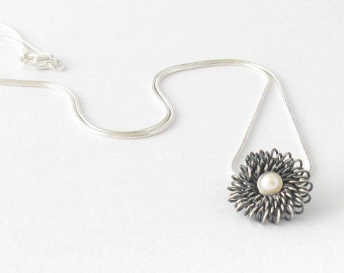 Delicate sterling silver and pearl necklace-Handmade oxidized silver pendant-OOAK-Contemporary jewelry MINOatelier.etsy.com  (scheduled via http://www.tailwindapp.com?utm_source=pinterest&utm_medium=twpin)