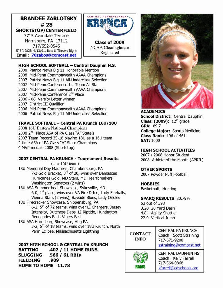 Student athlete Resume Example Luxury softball Profile