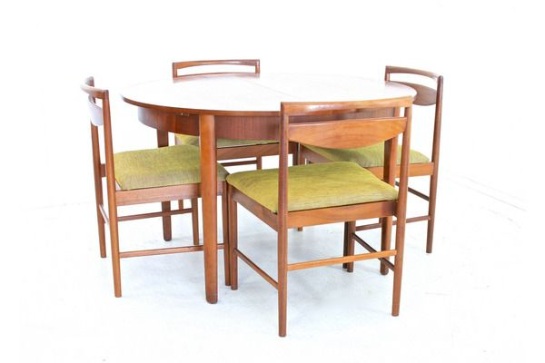 Vintage 1970s Teak Danish Influence Dining Table And 4 Chairs | vinterior.co