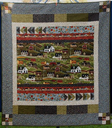 Folk Art Village- first quilt that I designed myself, simple but sweet.