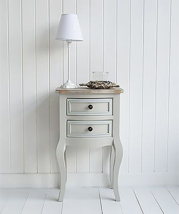 Grey hall furniture. The Bridgeport grey lamp table with two drawers, perfect piece of furniture for small hallways in a cottage or suburban home