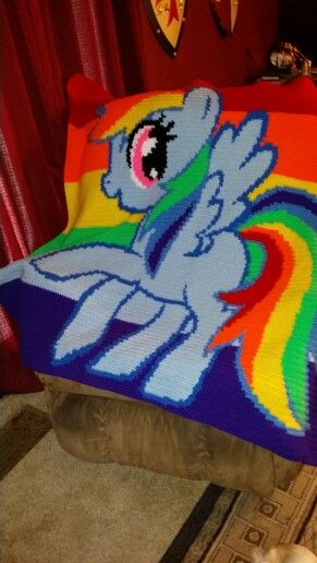 My Little Pony crochet word chart crochet blanket. Pattern from mommasjampackcrochetwordcharts.com