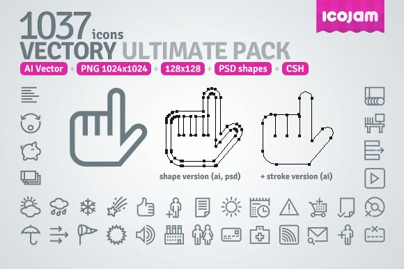1037 icons in Vectory Ultimate Pack ~ Icons on Creative Market