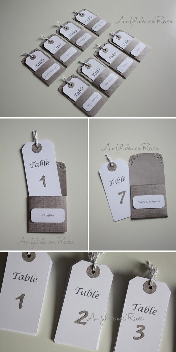 Plan de table sous la forme d'escort cards Design Yellow tag grey pocket