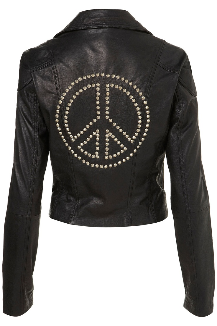 Zoom in: Studs Leather Jackets, Dreams Closet, Fashion Style, Studded Leather Jacket, Clothing, Peace Studs, Biker Fashion, Topshop Peace, Leather Biker Jackets
