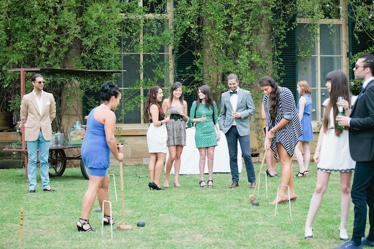 Game of Croquet on the residence lawns