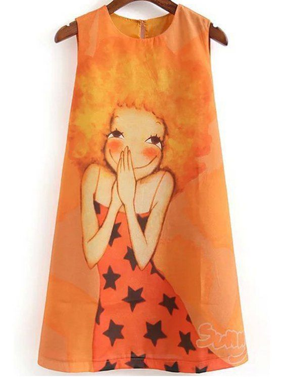 Cartoon Print Round Collar Sleeveless Dress - ORANGE S