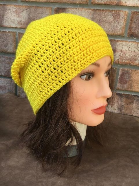 Yellow Crocheted Beanie