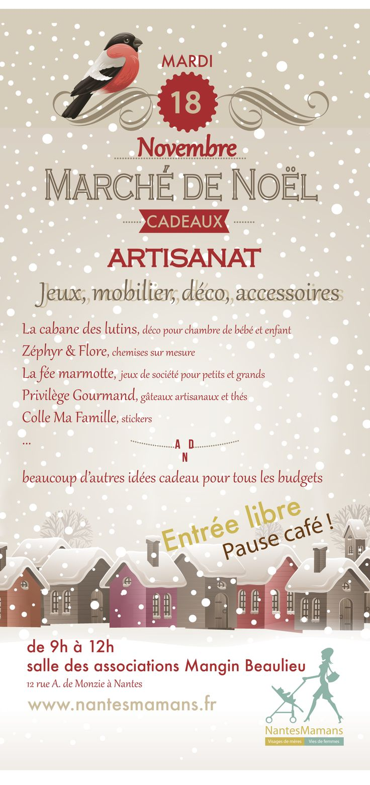 A Christmas market 100% made in Nantes! You haven't found the perfect gifts yet? Don't miss tomorrow's Christmas market where no more than 12 local designers will be presenting you hundreds of original ideas for gifts.  When : Tuesday 18th November from 9AM to 12AM. Where : Salle des association Mangin Beaulieu - 12 rue A. De Monzie - 44200 Nantes Free entrance & coffee!  See more at: http://lespetitsnantais.fr/2014/11/un-marche-de-noel-100-nantais/#sthash.1kf9j4ZE.MNKXr5Ru.dpbs
