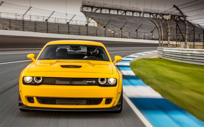 Download wallpapers Dodge Challenger SRT Hellcat, raceway, 2018 cars, supercars, yellow Challenger, tuning, Dodge