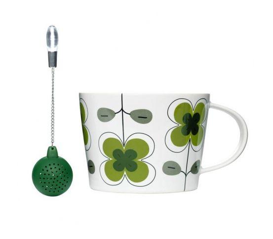 Sagaform - Tea - zielona filiżanka z silikonową zaparzaczką zaparzacz, oryginalny prezent, herbata liściasta, parzenie ziół