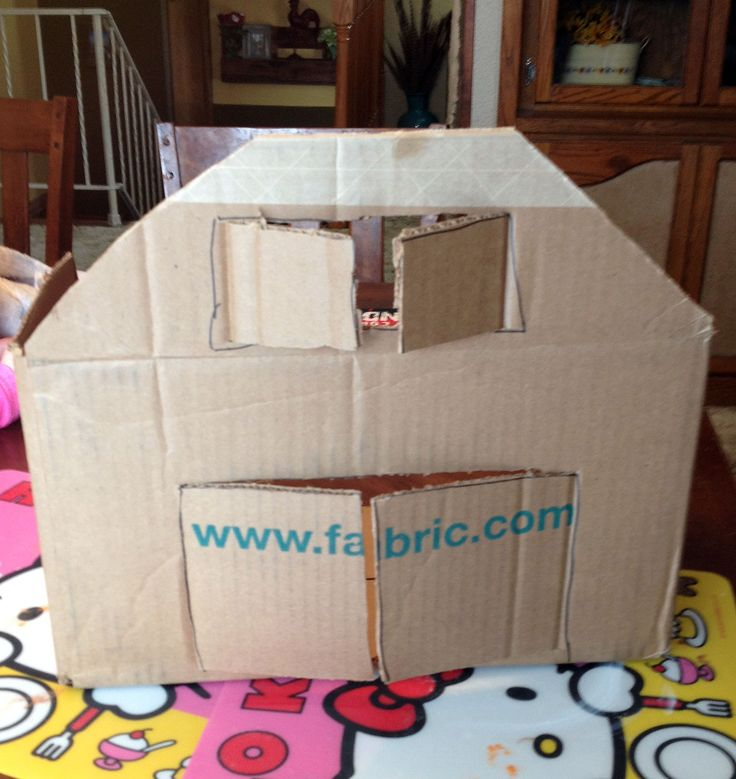 barn cut out of carboard box