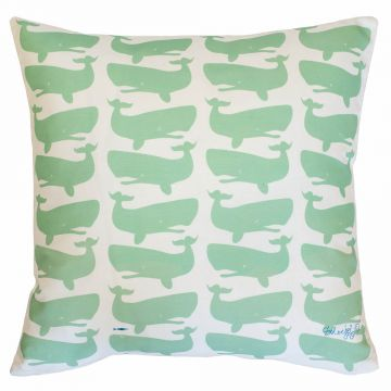 Green whales on white pillow- fun paired with pillow with white whales on green.