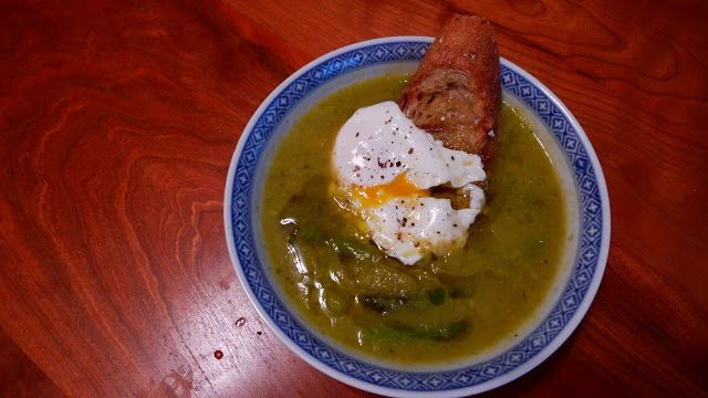 Two Blue Lemons: Creamy Asparagus Soup with a Poached Egg on Toast