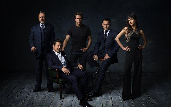 Lataa kuva Pimeä Maailmankaikkeus, 2017, Johnny Depp, Russell Crowe, Javier Bardem, Tom Cruise, Sofia Boutella, Universal Monster