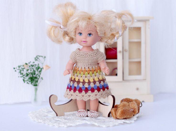 """Beige Crocheted Dress   for  4  """" doll.  Miniature Crochet dress. Dollhouse  doll clothes. Kelly doll crocheted  dress by Creativhook on Etsy"""