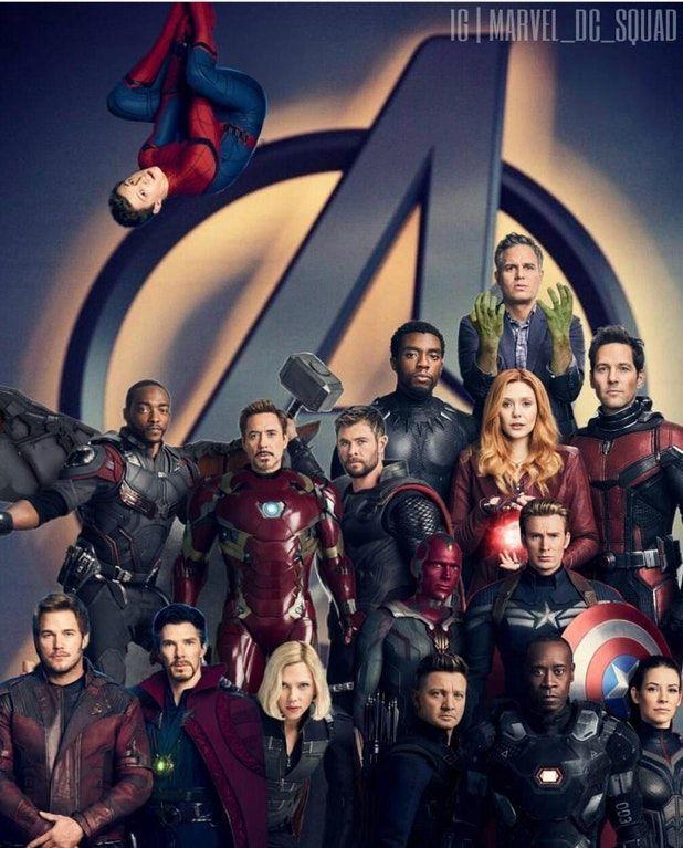 Spider-Man, Falcon, Iron Man, Thor, Black Panther, Hulk, Wanda, Ant-Man, Star Lord, Doctor Strange, Black Widow, Vision, Hawkeye, Captain America, War Machine, and ??