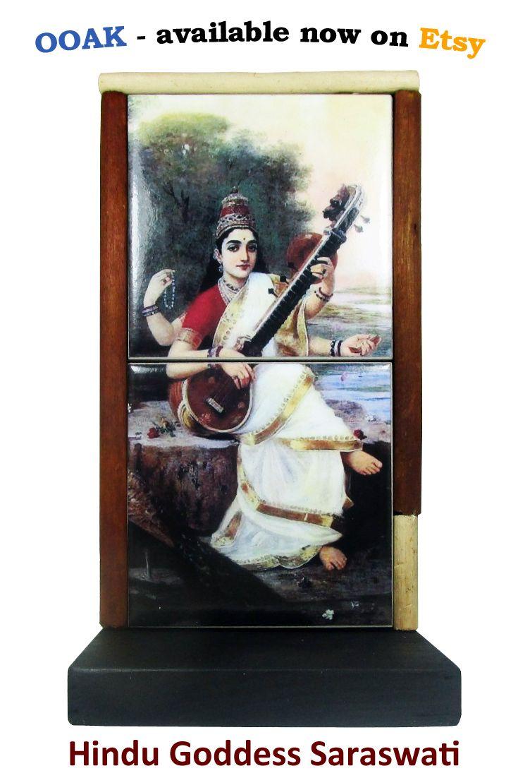 Hindu Altar - Goddess Saraswati - Hindu Goddess of Knowledge - spiritual art…