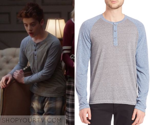 """The Mick: Season 1 Episode 17 Chip's Blue and Grey Raglan   Shop Your TV Chip Pemberton (Thomas Barbusca) wears this light blue sleeved button front henley raglan top in this episode of The Mick, """"The Intruder"""".  It is the Splendid Mills Raglan Sleeve Colorblock Henley Shirt."""