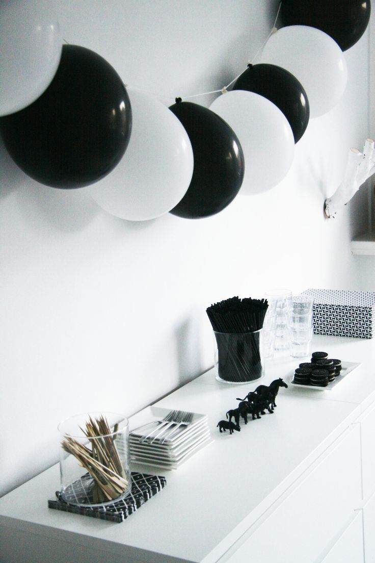 More fun ways with black & white balloons - for our biodegradable balloons and ribbon see http://www.littlecherry.co.uk/Balloons--Ribbon/Biodegradable-Balloons-Ribbon/