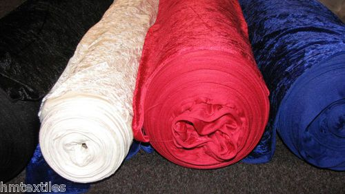 Crushed velvet fabric sold by the metre velour stretch material HM Textiles | eBay