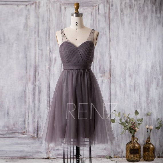 2016 Short Bridesmaid dress Charcoal Gray Cocktail by RenzRags