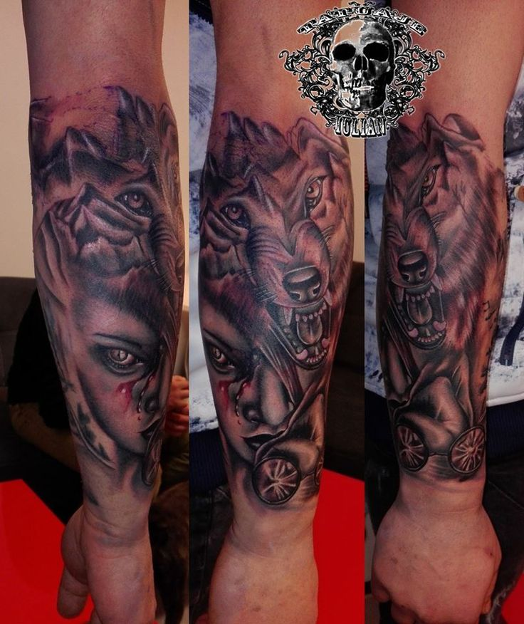 #wolftattoo #womanface #sleevetattoo